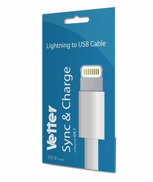iPhone 6, 5s, 5c, 5 Lightning cable IOS 8 Vetter Blister