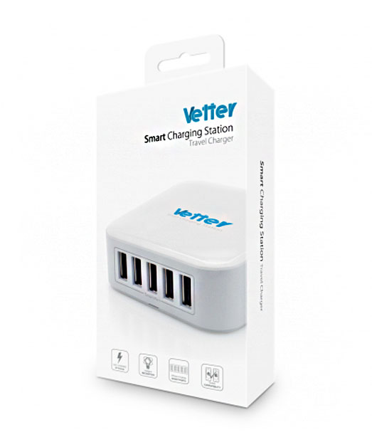 Universal Charging Station 5 x Smart USB Outputs 8.2A White