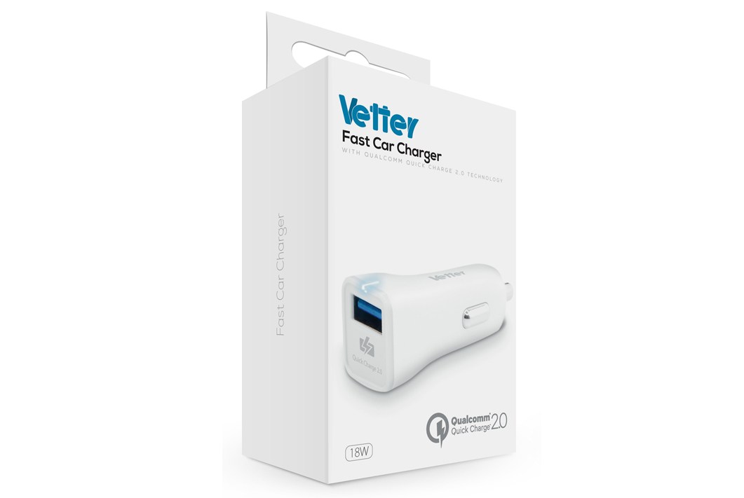 Incarcator auto Vetter Fast Quick Charge alb