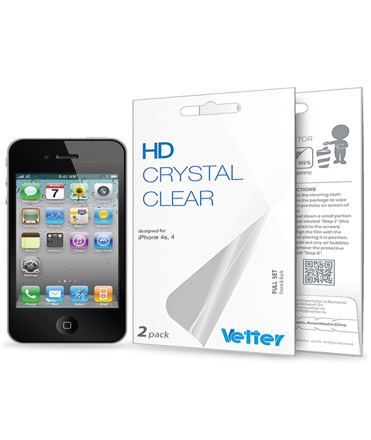 Folie Vetter HD Crystal Clear pentru iPhone 4/4S | Full set | 2 pack