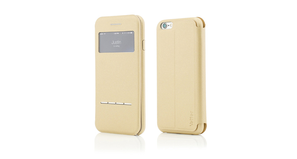 Husa Vetter iPhone 6S, 6 Flip View PU Leather gold