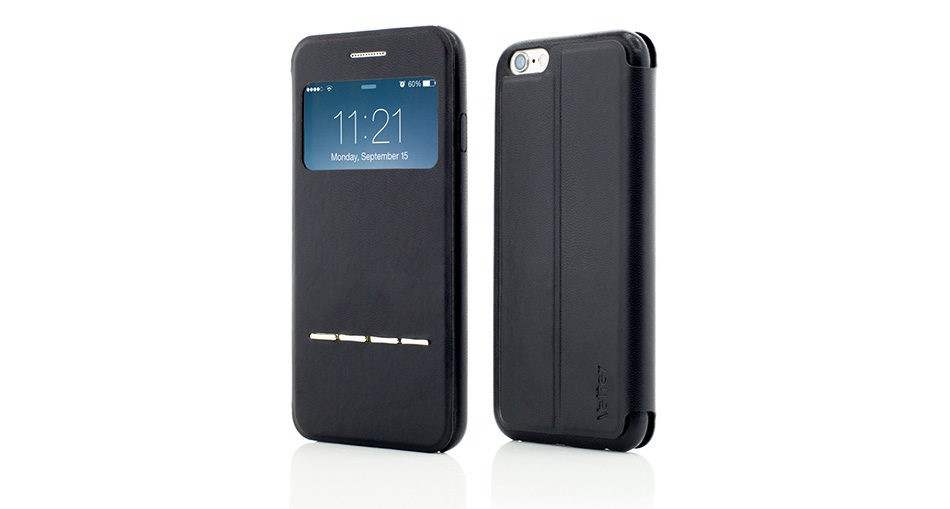 Husa Vetter iPhone 6S, 6 Flip View Slide to Answer Genuine Leather neagra