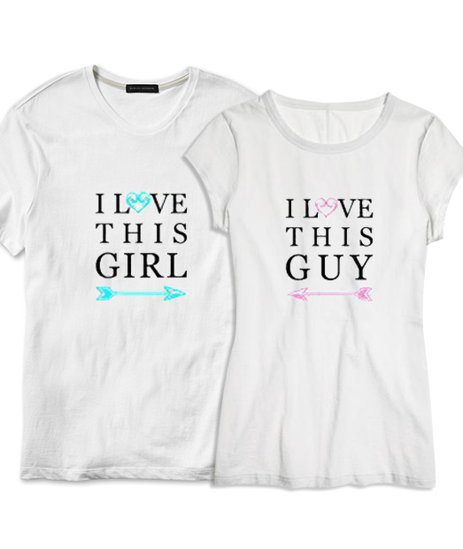 Set tricou alb I love this guy ❤ girl