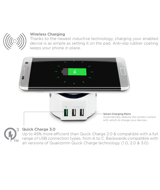 Incarcator Wireless All in One Charging Station cu Smart and Quick Charge 3.0