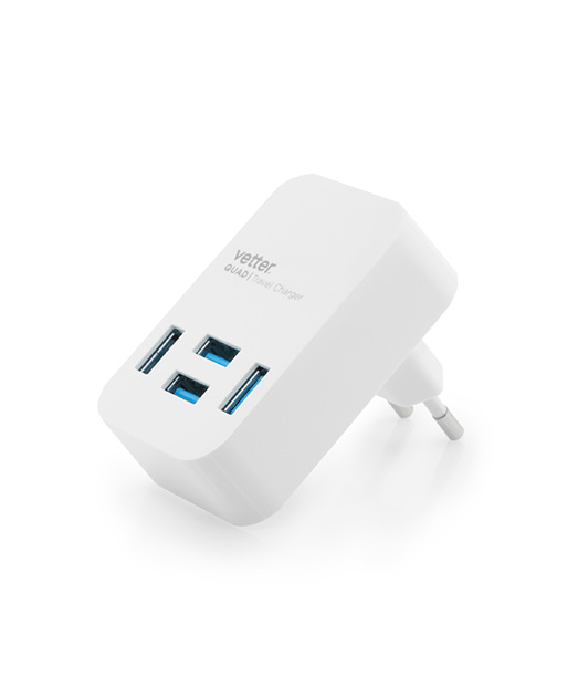 Incarcator Quad Travel Charger 4 x USB 4A White