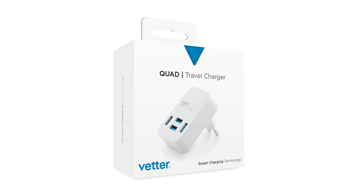 Quad Travel Charger 4 x USB 4A White