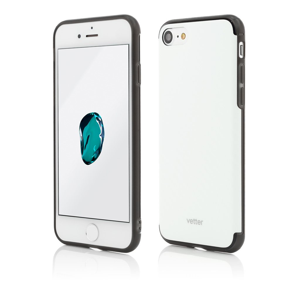 Husa iPhone 7 Clip-On Hybrid Slim Series Carbon Look White
